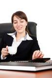 Koffie en het werk stock fotografie