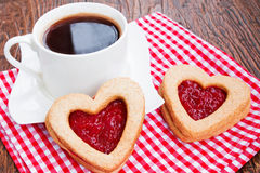 Koffie en koekjes met jam Royalty-vrije Stock Fotografie