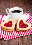 Koffie en koekjes met jam Royalty-vrije Stock Foto