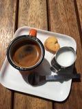 Koffie en melk royalty-vrije stock afbeelding