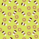 Koffie en ongezuurde broodjes Vlakke vectorillustratie Stock Foto's