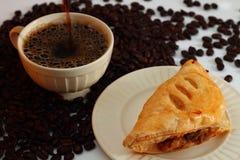 Koffie en paddestoelbladerdeeg Royalty-vrije Stock Foto