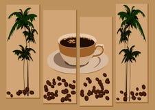 Koffie en palmen stock afbeelding