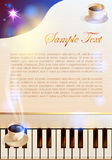 Koffie en Piano Stock Foto's