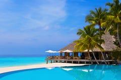 Koffie en pool op een tropisch strand Royalty-vrije Stock Foto