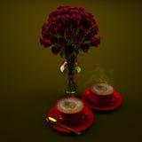 Koffie en Rozen Royalty-vrije Stock Afbeelding
