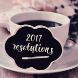 Koffie en tekst 2017 resoluties Stock Afbeeldingen