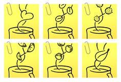 Koffie en thee   De gele reeks van de Sticker Vector Illustratie