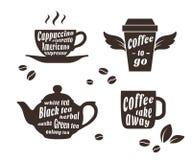 Koffie en thee geplaatste koppen Royalty-vrije Stock Foto's