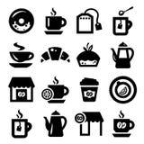 Koffie en thee geplaatste pictogrammen Royalty-vrije Stock Afbeelding