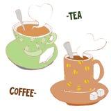 Koffie en Theekrabbelhand Getrokken Koppen, Vectorillustratie Stock Foto