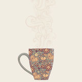 koffie en theemok met bloemenpatroon Kopachtergrond Hete drin Stock Afbeeldingen