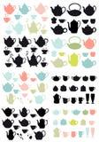 Koffie en theepotten en mokken, vector Stock Foto