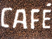 koffie Franse in reliëf gemaakte bonen stock foto