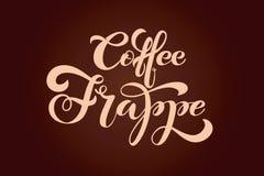 Koffie frappe embleem Types van koffie Vector Illustratie