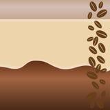 Koffie gekleurde achtergrond met bonen Stock Fotografie