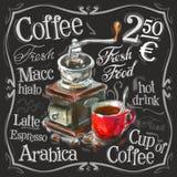 Koffie, het ontwerpmalplaatje van het espresso vectorembleem vector illustratie