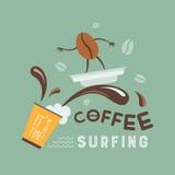Koffie het surfen Royalty-vrije Stock Afbeeldingen