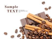 Koffie, kaneel en chocolade Royalty-vrije Stock Afbeeldingen