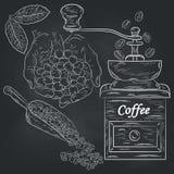 Koffie, koffiebessen, koffiebonen, koffiemachine stock illustratie