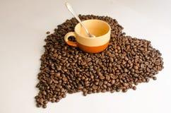 Koffie, koffiebonen stock fotografie