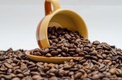 Koffie, koffiebonen royalty-vrije stock afbeeldingen