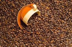 Koffie, koffiebonen stock afbeelding