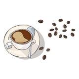 Koffie in kop en bonen vectorillustratie Royalty-vrije Stock Foto