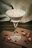Koffie latte in glaskop Stock Foto's