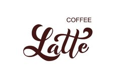Koffie Latte Met de hand geschreven van letters voorziende ontwerpelementen Stock Illustratie