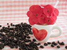 Koffie in liefdethema royalty-vrije stock foto's