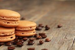 Koffie macarons stock foto's