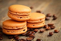Koffie macarons stock afbeelding