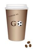 Koffie meeneem - Voetbal Royalty-vrije Stock Foto's