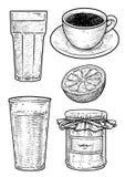 Koffie, melk, jam en jus d'orangeillustratie, tekening, gravure, inkt, lijnkunst, vector stock afbeelding