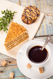 Koffie met cake Royalty-vrije Stock Foto's