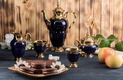 Koffie met cakes en appelen Royalty-vrije Stock Fotografie