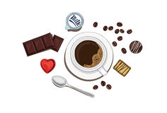 Koffie met chocolade royalty-vrije stock afbeeldingen