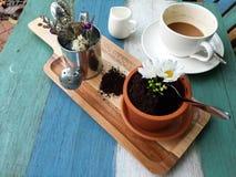 Koffie met de cake Stock Afbeelding