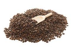 Koffie met houten lepel Stock Fotografie