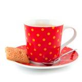 Koffie met koekje stock afbeeldingen
