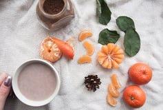 Koffie met mandarijn Stock Foto