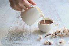 Koffie met melk op een neutrale achtergrond royalty-vrije stock afbeeldingen