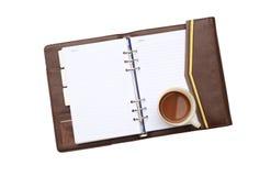 Koffie met notitieboekje Royalty-vrije Stock Afbeelding