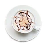 Koffie met patroon - hoogste mening Stock Foto