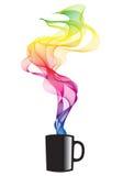 Koffie met rook, vector royalty-vrije illustratie