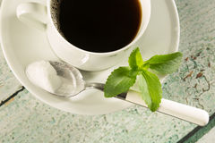 Koffie met stevia Royalty-vrije Stock Afbeeldingen