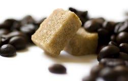 Koffie met suiker stock foto