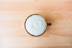 Koffie Mocha in houten kop Stock Fotografie