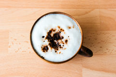 Koffie Mocha in houten kop Royalty-vrije Stock Foto